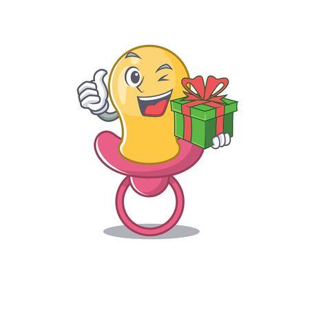 joyful baby pacifier cartoon character with a big gift box