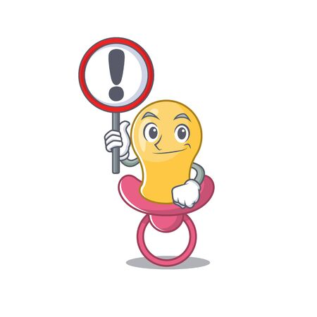 A cartoon icon of baby pacifier with a exclamation sign board. Vector illustration Çizim