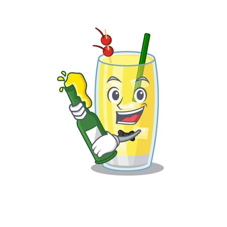 caricature design concept of pina colada cocktail cheers with bottle of beer