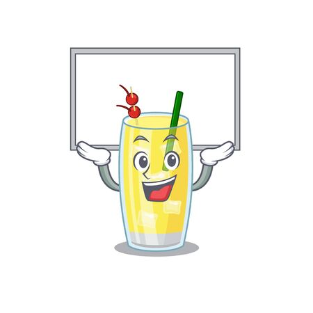 Caricature character of pina colada cocktail succeed lift up a board