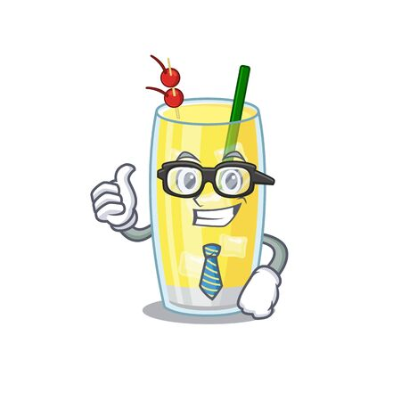 cartoon drawing of pina colada cocktail Businessman wearing glasses and tie
