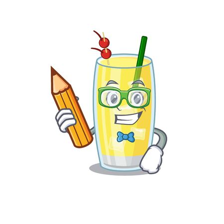 A clever student pina colada cocktail cartoon character study at home