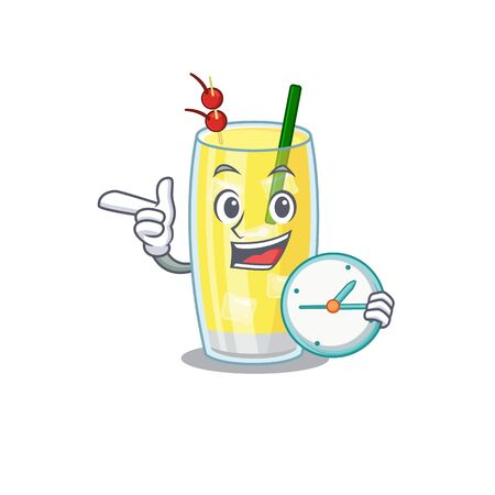 mascot design style of pina colada cocktail standing with holding a clock