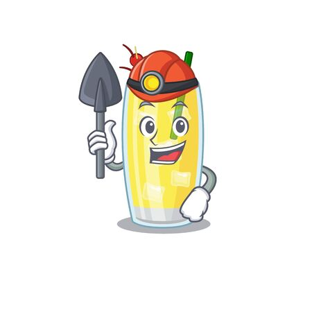 A cartoon picture of pina colada cocktail miner with tool and helmet. Vector illustration