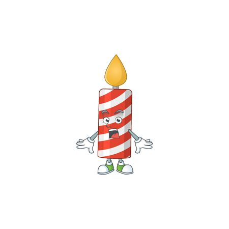 A caricature concept design of candle with a surprised gesture