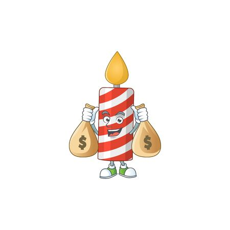 A humble rich candle caricature character design with money bags
