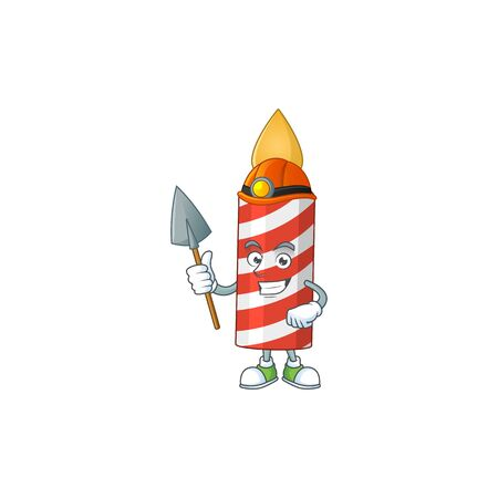 Candle as a miner cartoon character design Çizim
