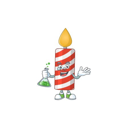 Candle smart Professor Cartoon character holding glass tube on the lab. Vector illustration
