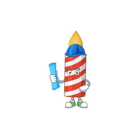 brilliant Architect candle mascot design style with blue prints and helmet