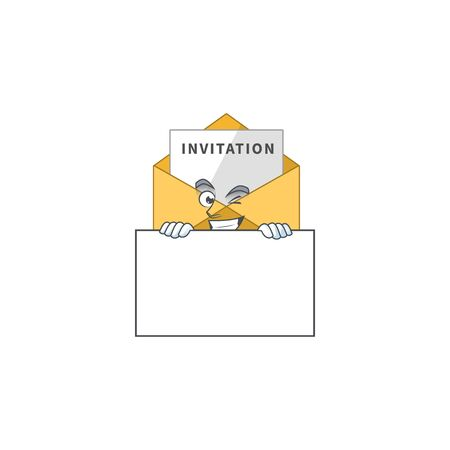 Mascot design style of invitation message standing behind a board. Vector illustration