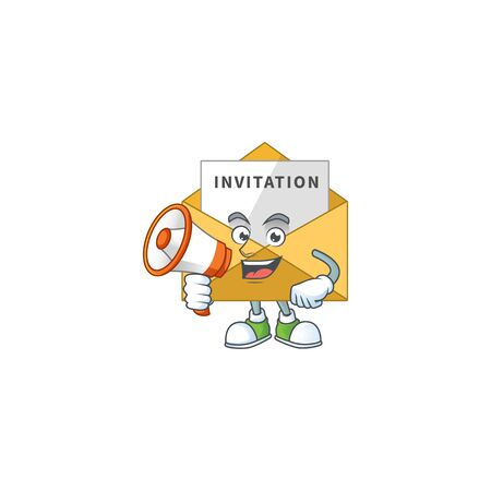 An image of invitation message cartoon design style with a megaphone. Vector illustration