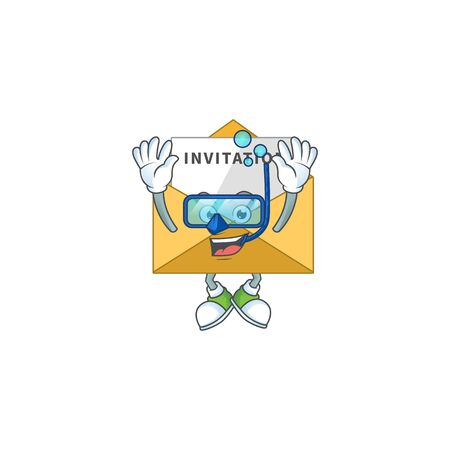 cartoon drawing concept of invitation message wearing cool Diving glasses ready to swim. Vector illustration