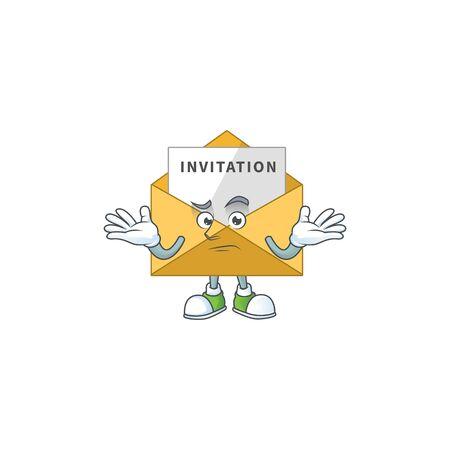 A cartoon image of invitation message in smirking face. Vector illustration Vetores