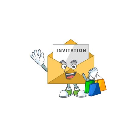 Happy rich invitation message Caricature picture with shopping bags. Vector illustration