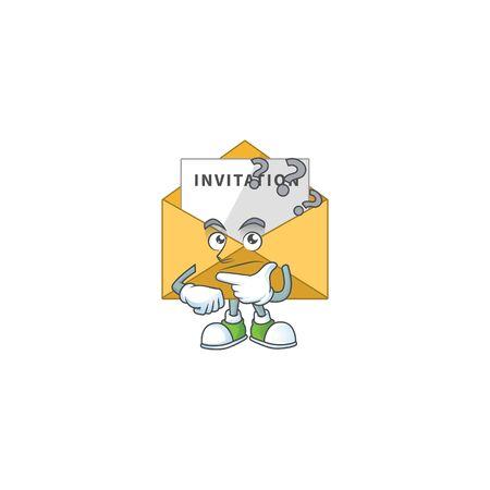 mascot design concept of invitation message with confuse gesture. Vector illustration Vetores