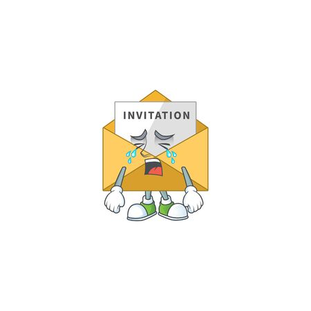 A crying invitation message cartoon character drawing concept. Vector illustration