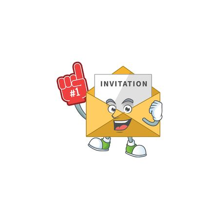 Invitation message Cartoon character design style with a red foam finger. Vector illustration