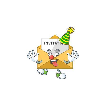 entertaining Clown invitation message caricature character design style. Vector illustration