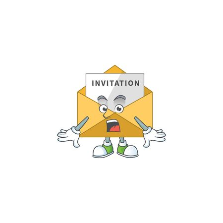A caricature concept design of invitation message with a surprised gesture. Vector illustration Stock Illustratie