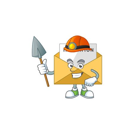 Invitation message as a miner cartoon character design. Vector illustration
