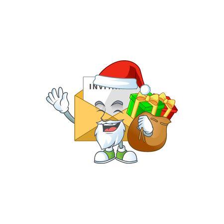 Santa invitation message Cartoon drawing design with sacks of gifts. Vector illustration Illustration