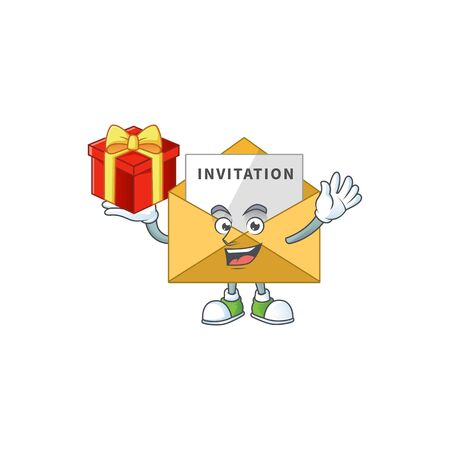 Invitation message cartoon mascot concept design with a red box of gift. Vector illustration