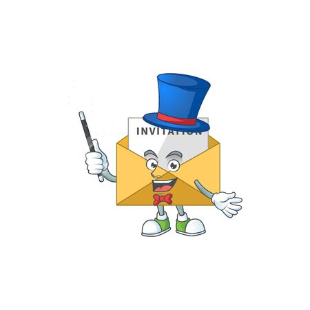 Talented invitation message Magician cartoon mascot design style. Vector illustration