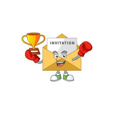 Proudly face of boxing winner invitation message cartoon character design. Vector illustration Vetores