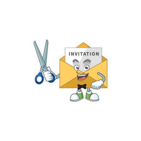 A picture of invitation message Barber cartoon character working with scissor. Vector illustration