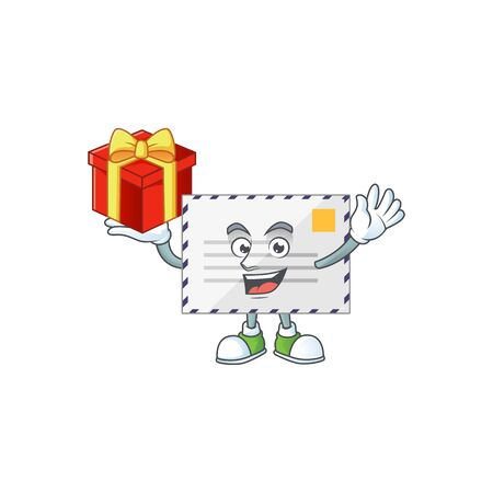 Letter cartoon mascot concept design with a red box of gift. Vector illustration