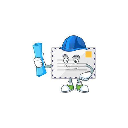 brilliant Architect letter mascot design style with blue prints and helmet. Vector illustration