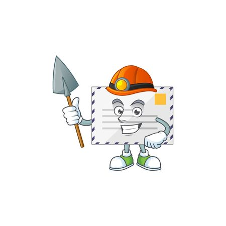 Letter as a miner cartoon character design. Vector illustration