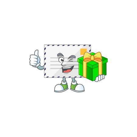 Happy smiley letter cartoon mascot design with a gift box. Vector illustration