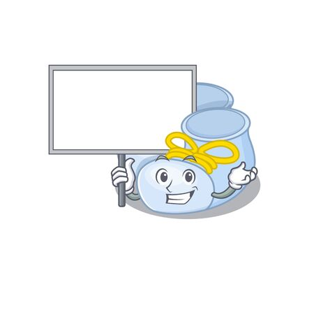 Cartoon picture of baby boy boots mascot design style carries a board