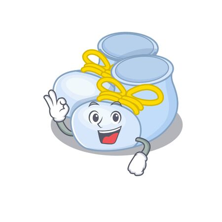 Baby boy boots mascot design style showing Okay gesture finger
