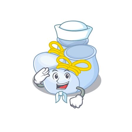 Smiley sailor cartoon character of baby boy boots wearing white hat and tie