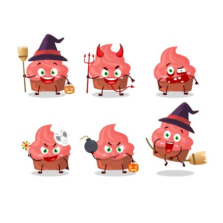 Halloween expression emoticons with cartoon character of strawberry cake