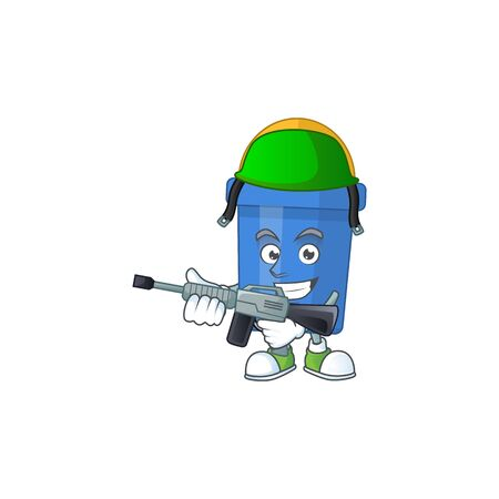 A mascot design picture of blue sand bucket as a dedicated Army using automatic gun Ilustrace