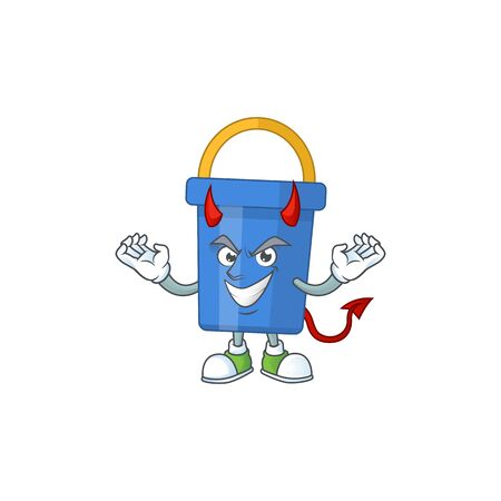 A cartoon image of blue sand bucket as a devil character. Vector illustration