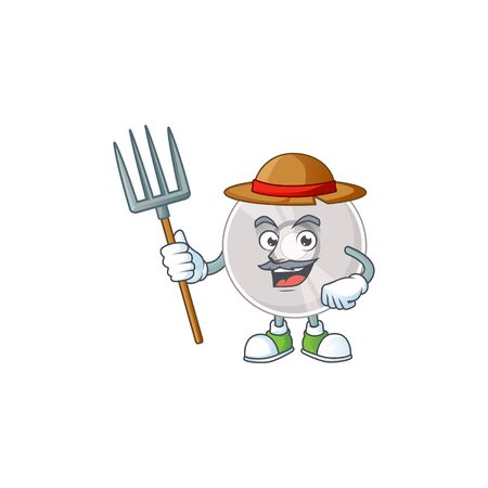 Caricature picture of Farmer compact disk with hat and pitchfork. Vector illustration Stock Illustratie