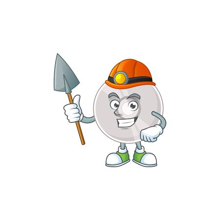 Compact disk as a miner cartoon character design. Vector illustration