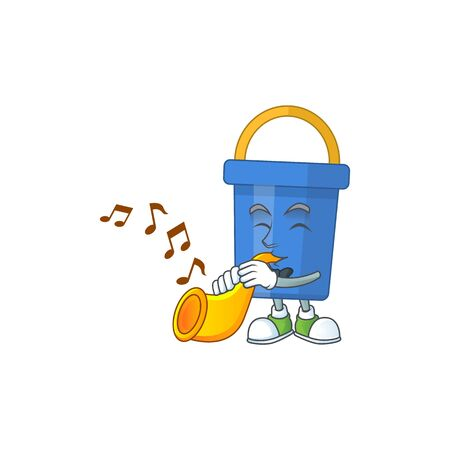 Talented musician of blue sand bucket mascot design playing music with a trumpet. Vector illustration