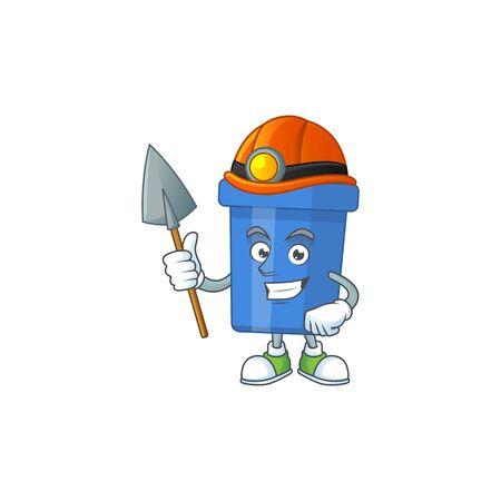 Blue sand bucket as a miner cartoon character design. Vector illustration