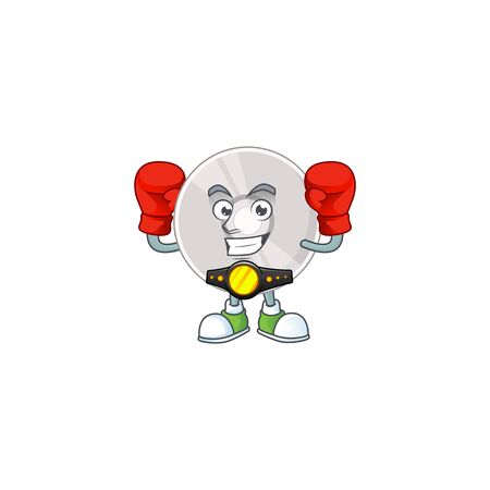 Caricature picture of compact disk boxing athlete on the arena. Vector illustration Vector Illustratie