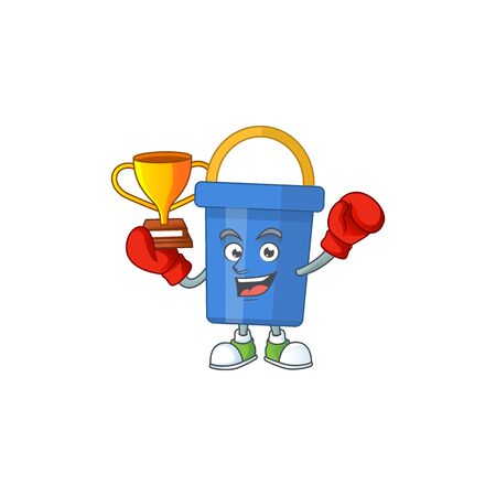 Proudly face of boxing winner blue sand bucket cartoon character design. Vector illustration