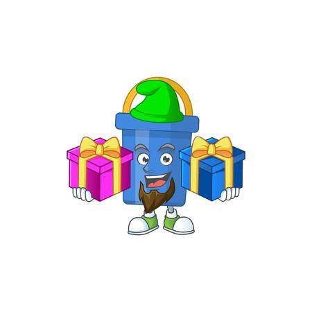 A joyful blue sand bucket mascot design style with Christmas gifts. Vector illustration