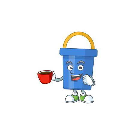 A mascot design character of blue sand bucket drinking a cup of coffee. Vector illustration