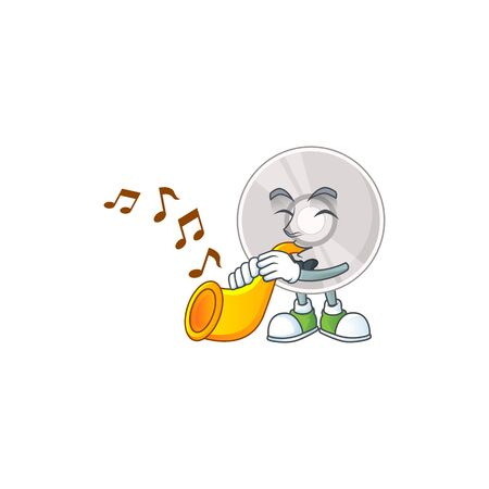 Talented musician of compact disk mascot design playing music with a trumpet. Vector illustration 일러스트