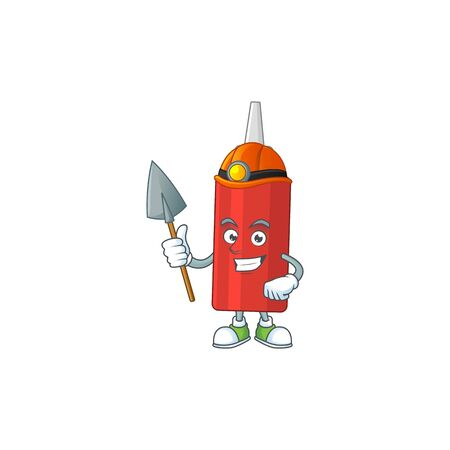 Sauce bottle as a miner cartoon character design. Vector illustration