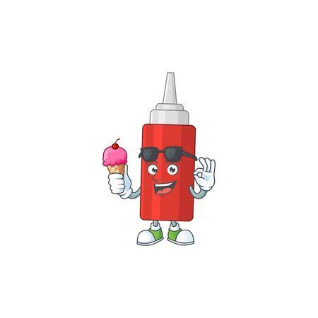 Happy face of sauce bottle cartoon mascot having an ice cream. Vector illustration Ilustración de vector